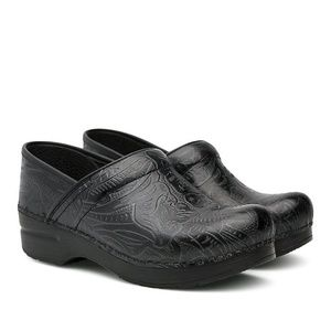 New Dansko Professional Black Tooled Leather Clog